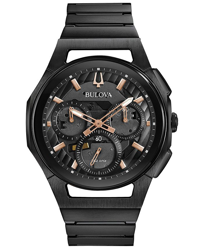 Bulova - Men's Chronograph Curv Black Stainless Steel Bracelet Watch 44mm