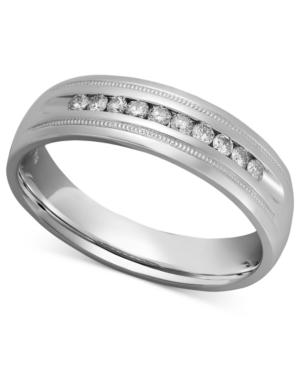 Men's Diamond Ring, Sterling Silver Diamond Milgrain Band (1/4 ct. t.w.)