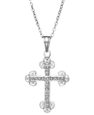Sterling Silver Necklace, Diamond Accent Cross Pendant