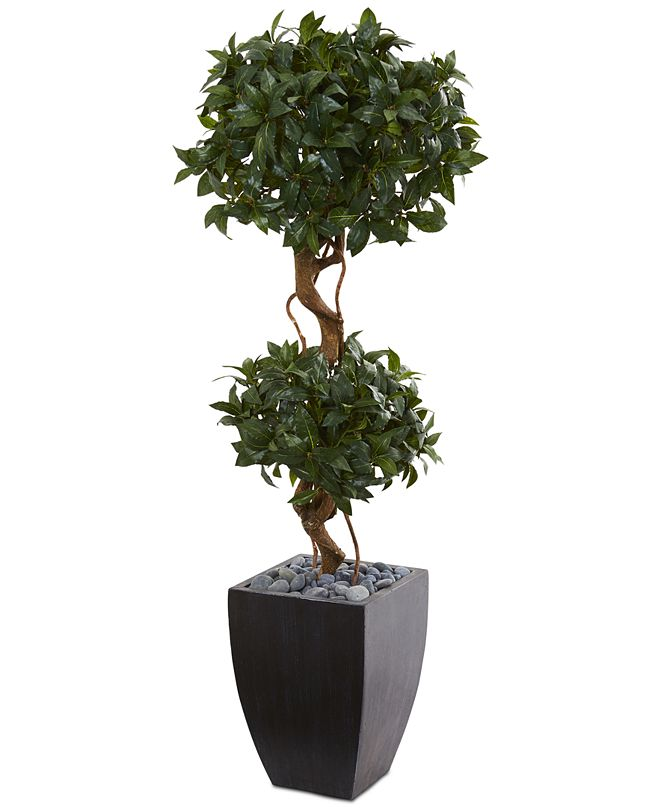 Nearly Natural 4.5' Sweet Bay Double Topiary Artificial Tree in Black-Washed Planter