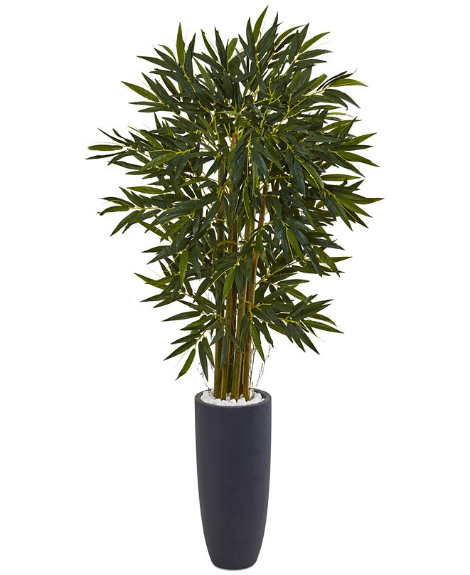 Nearly Natural 6.5' Bamboo Artificial Tree in Gray Cylinder Planter
