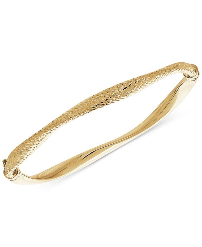 Italian Gold Wavy Hinged Bangle Bracelet in 10k Gold & Reviews - Bracelets - Jewelry & Watches - Macy's