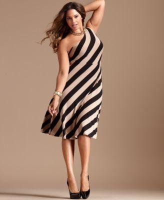 INC International Concepts Plus Size Dress, One Shoulder Striped A-Line