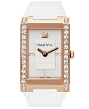 Swarovski Watch,  Women's Swiss Citra White Croc Embossed Leather Strap 1094370