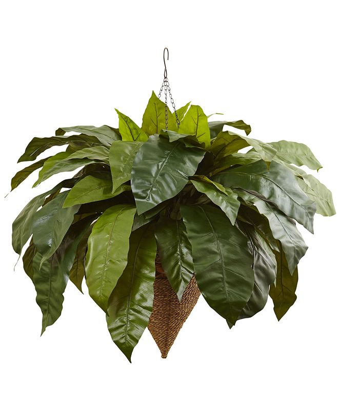 "Nearly Natural 30"" Giant Bird's Nest Fern Artificial Plant in Cone-Shaped Hanging Basket"
