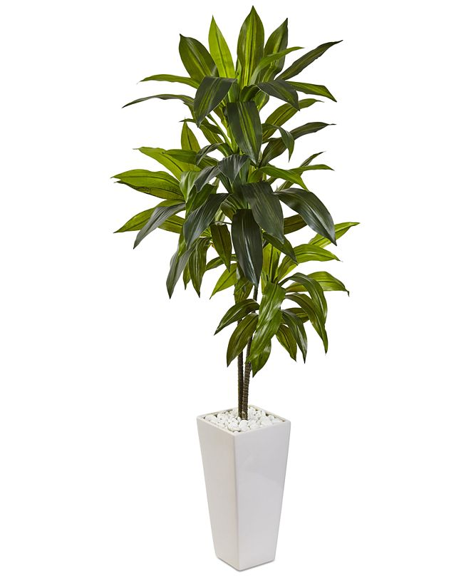 Nearly Natural 3' Dracaena Artificial Plant in White Tower Planter