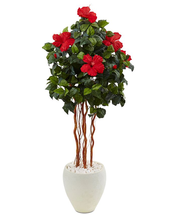 Nearly Natural - 4.5' Hibiscus Artificial Tree in White Oval Vase