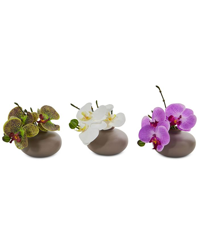 Nearly Natural - 7'' Phalaenopsis Orchid Artificial Arrangement, Set of 3