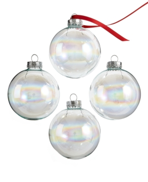 Kurt Adler Christmas Ornaments, Set of 4 Iridescent Glass Balls