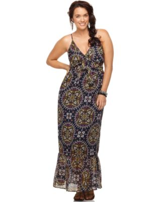 Eyeshadow Plus Size Dress, Sleeveless Printed Ruffled Maxi