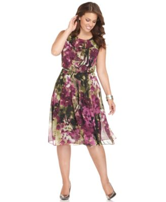 Jones New York Plus Size Dress, Sleeveless Ruffled Floral Printed
