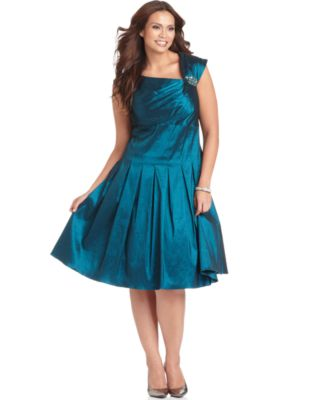 Jessica Howard Plus Size Dress, Cap Sleeve Pleated A-Line