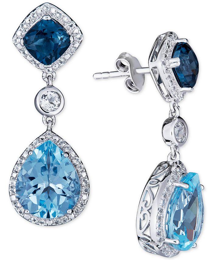 Macy's - Blue Topaz (5 ct. t.w.) & White Topaz (3/4 ct. t.w.) Drop Earrings in Sterling Silver