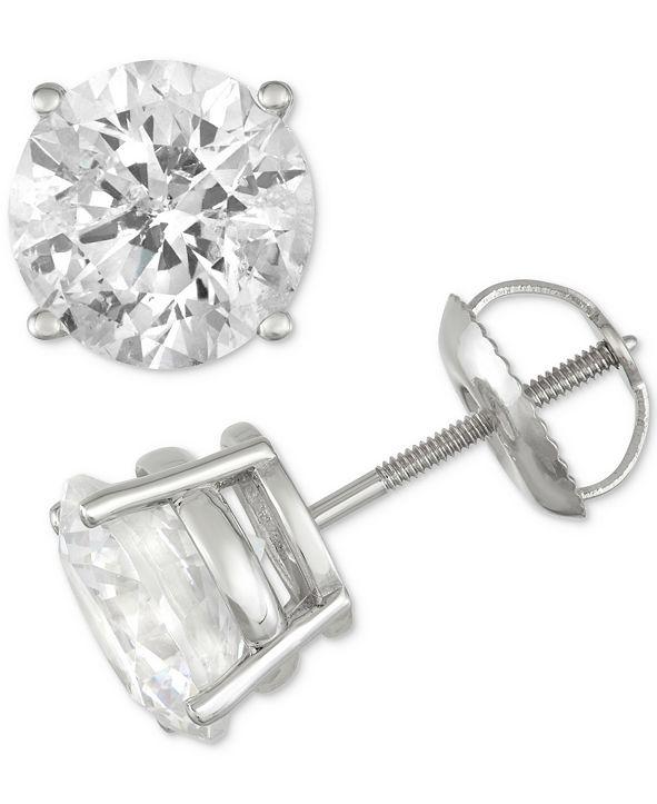 Macy's Diamond Stud Earrings (3 ct. t.w.) in 14k White Gold