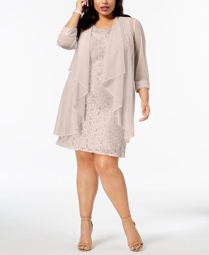 R & M Richards - Plus Size Lace Dress & Jacket