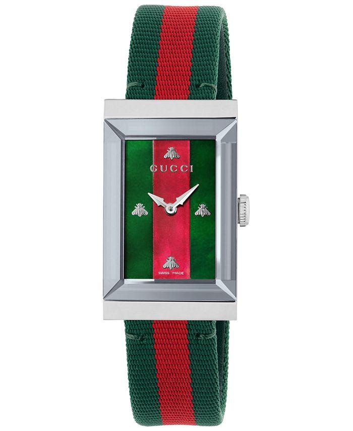 Gucci - Women's Swiss G-Frame Green-Red-Green Nylon Strap Watch 21x34mm
