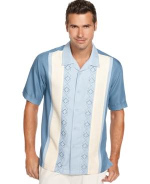 Cubavera Shirt, Short Sleeve Embroidered Panel Shirt