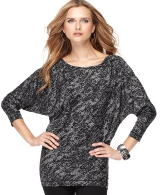 Studio M Top, Long Dolman Sleeve Burnout Print