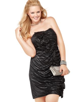 Ruby Rox Plus Size Dress, Strapless Metallic Ruffled