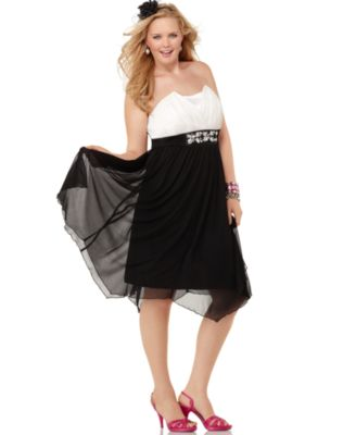 Trixxi Plus Size Dress, Strapless Embellished Empire