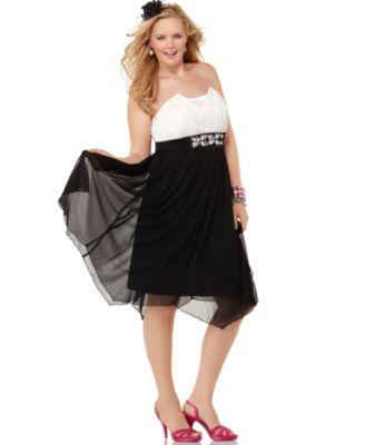 Trixxi Plus Size Dress, Strapless Embellished Empire