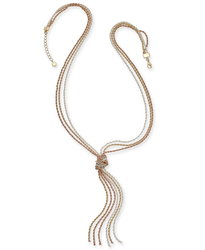 """Charter Club - Tri-Tone Multi-Chain Knotted Lariat Necklace, 30"""" + 2"""" extender"""