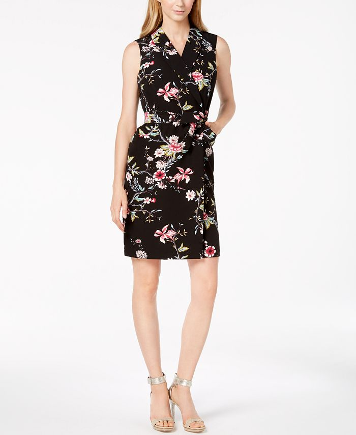 Calvin Klein - Belted Floral-Print Wrap Dress