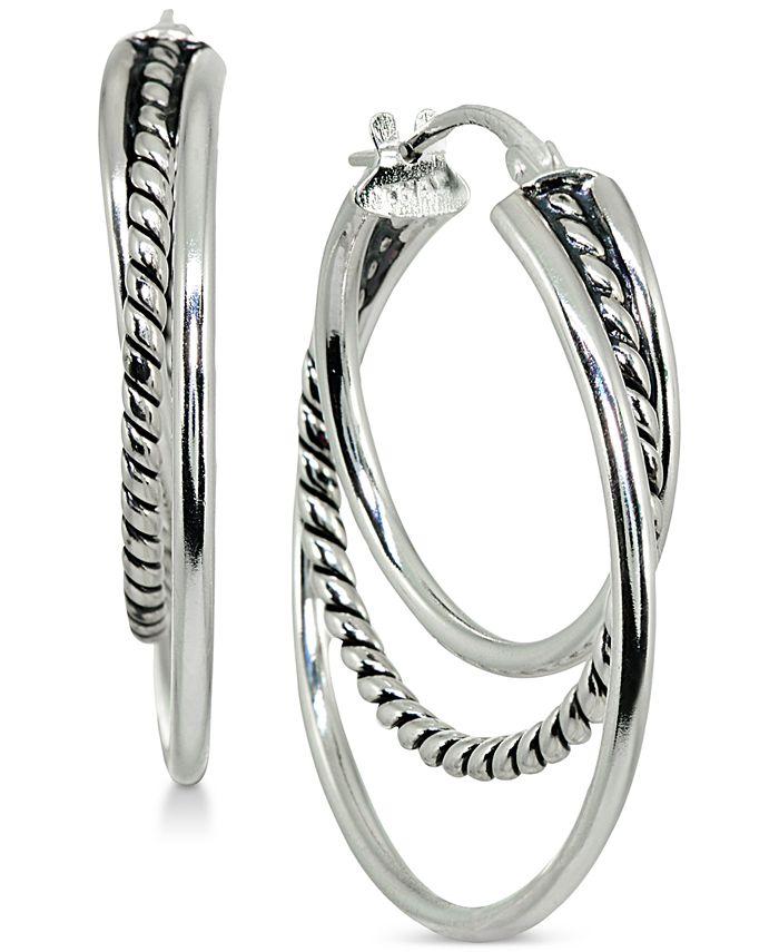 Giani Bernini - Textured Triple Hoop Earrings in Sterling Silver