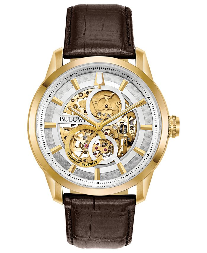 Bulova - Men's Automatic Sutton Brown Leather Strap Watch 43mm