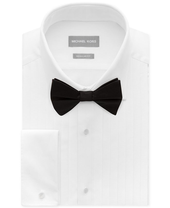 Michael Kors - Men's Classic/Regular Fit Non-Iron Performance French Cuff Formal Dress Shirt & Pre-Tied Silk Bow Tie Set