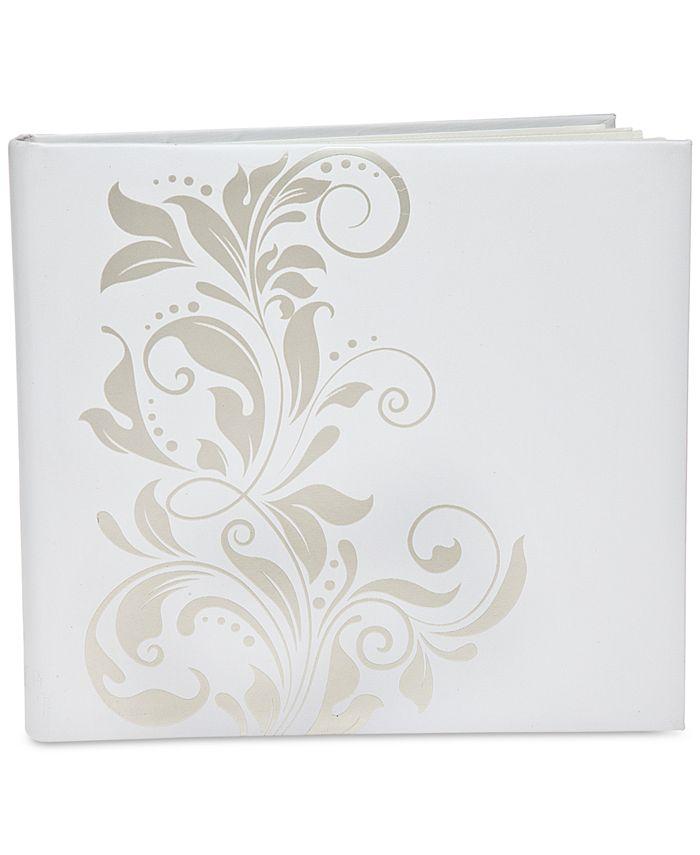 Philip Whitney - White & Silver-Tone Ivy Large Self-Stick Photo Album
