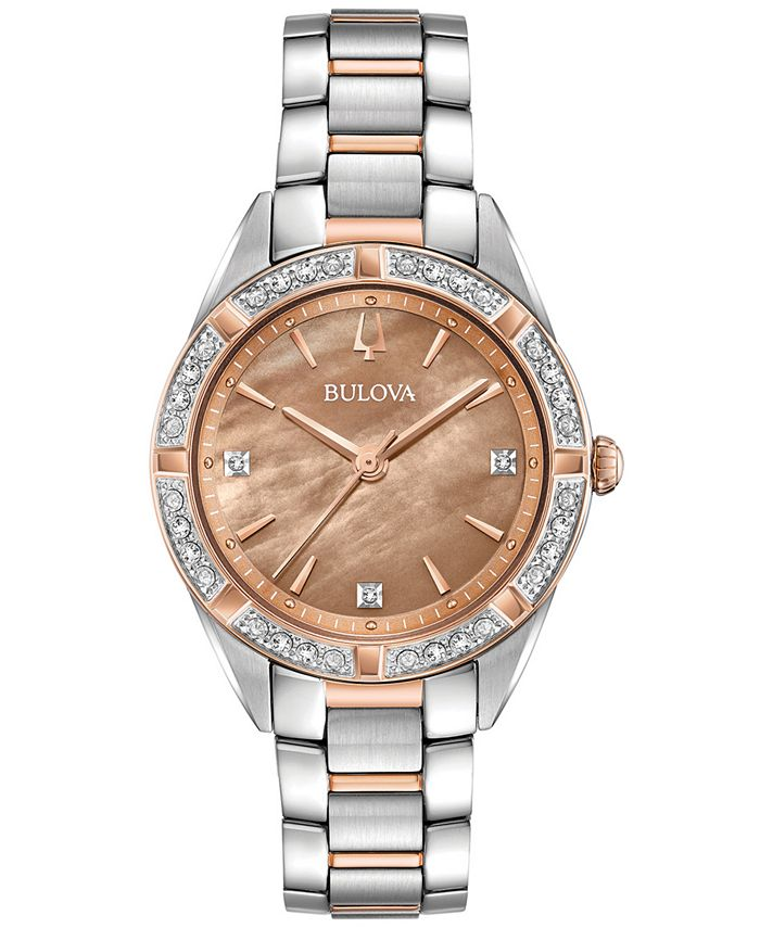 Bulova - Women's Sutton Diamond (1/10 ct. t.w.) Two-Tone Stainless Steel Bracelet Watch 32.5mm