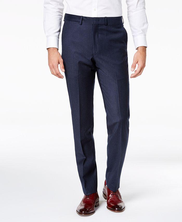 DKNY - Men's Modern-Fit Navy Pinstripe Suit Pants