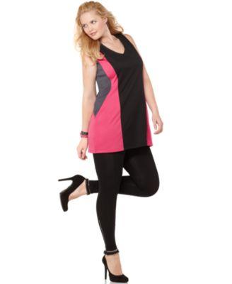 ING Plus Size Dress, Sleeveless Colorblocked V-Neck