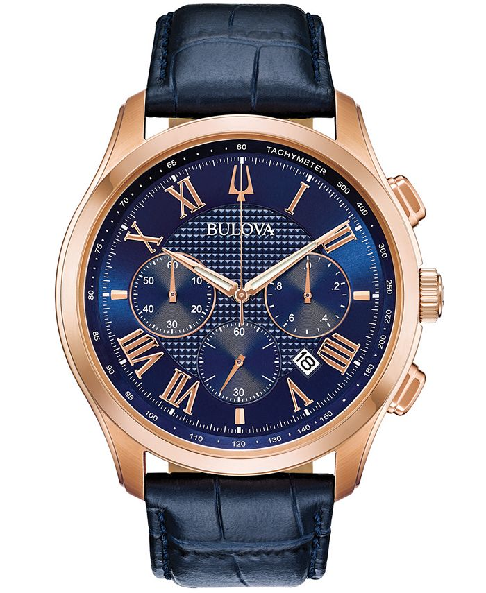 Bulova - Men's Chronograph Wilton Blue Leather Strap Watch 46.5mm