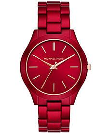 Michael Kors Women's Slim Runway Red-Tone Stainless Steel Bracelet Watch 42mm