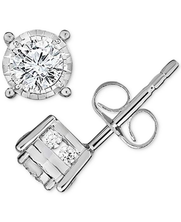 TruMiracle Diamond Stud Earrings (1/3 ct. t.w.) in 14k White Gold