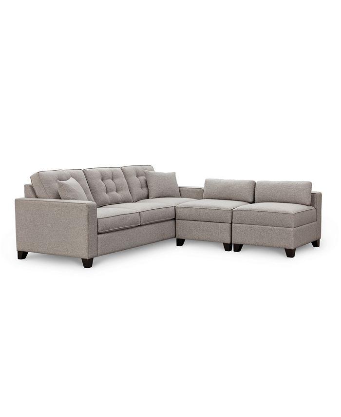 "Furniture - Clarke II 93"" Fabric Estate Sofa with Two Storage Armless Chair"