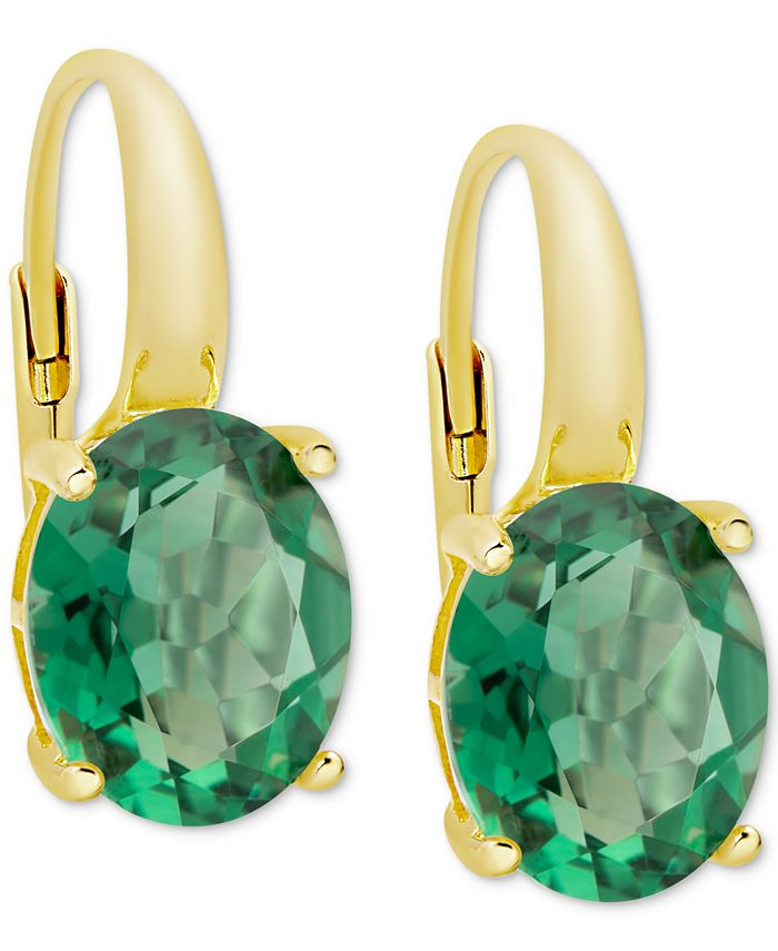 Macy's - Green Quartz Drop Earrings (4-3/4 ct. t.w.) in 14k Gold-Plated Sterling Silver