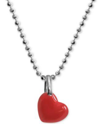 "Red Enamel Heart 16"" Pendant Necklace in Sterling Silver"
