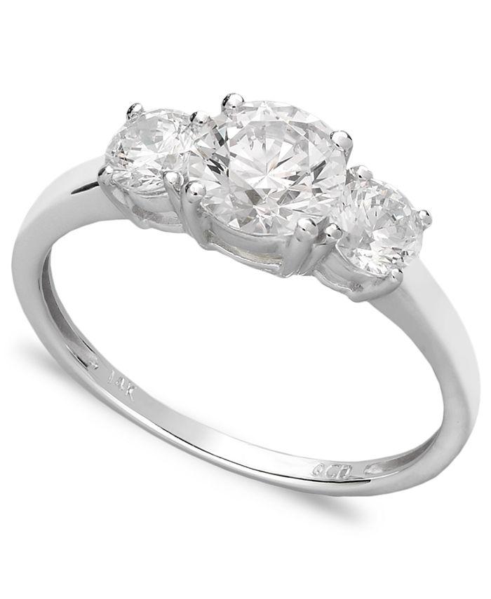 Arabella - 14k White Gold Ring, Swarovski Zirconia Small Three Stone Ring (2-3/8 ct. t.w.)