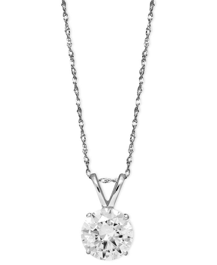 Arabella - 14k White Gold Necklace, Swarovski Zirconia Round Pendant (2-1/6 ct. t.w.)