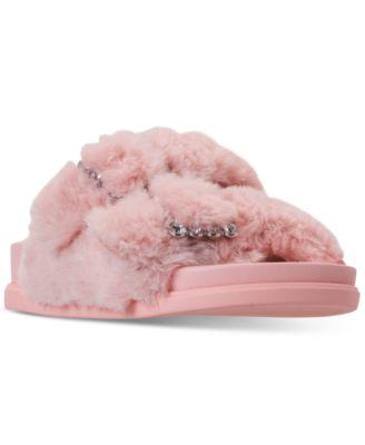 Girls JFancy Faux Fur Slide Sandals