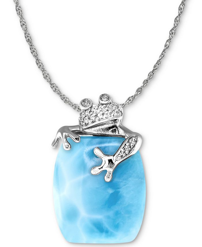 """Marahlago - Larimar & White Sapphire (1/10 ct. t.w.) Frog 21"""" Pendant Necklace in Sterling Silver"""