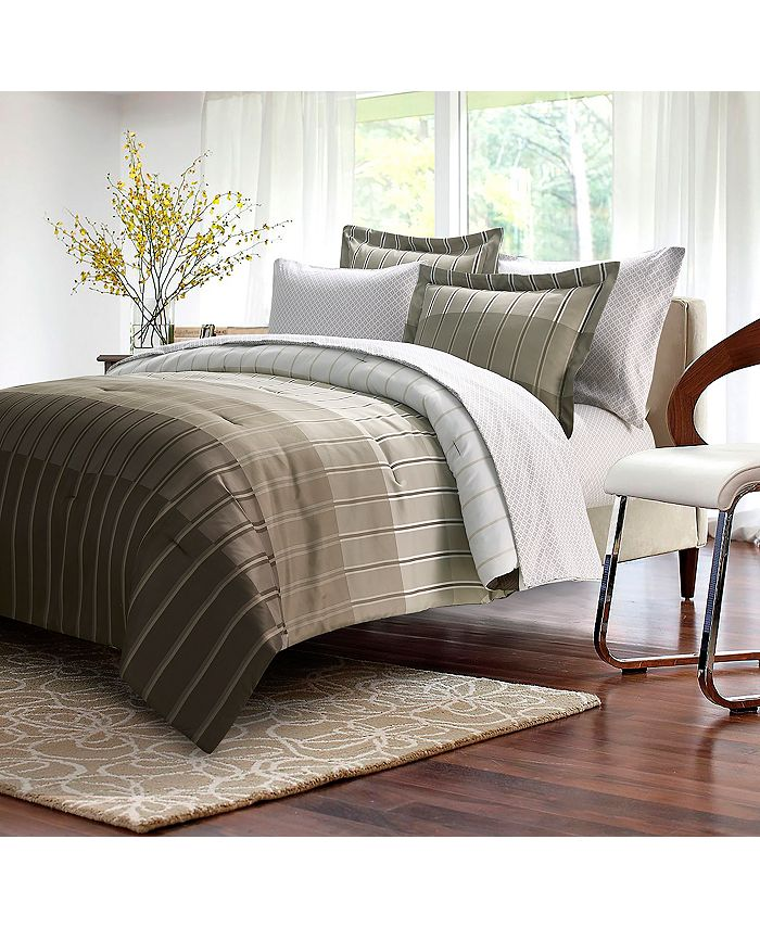 Brown & Grey - Ombre Stripe Taupe 8-piece Bed-In-Bag, Full