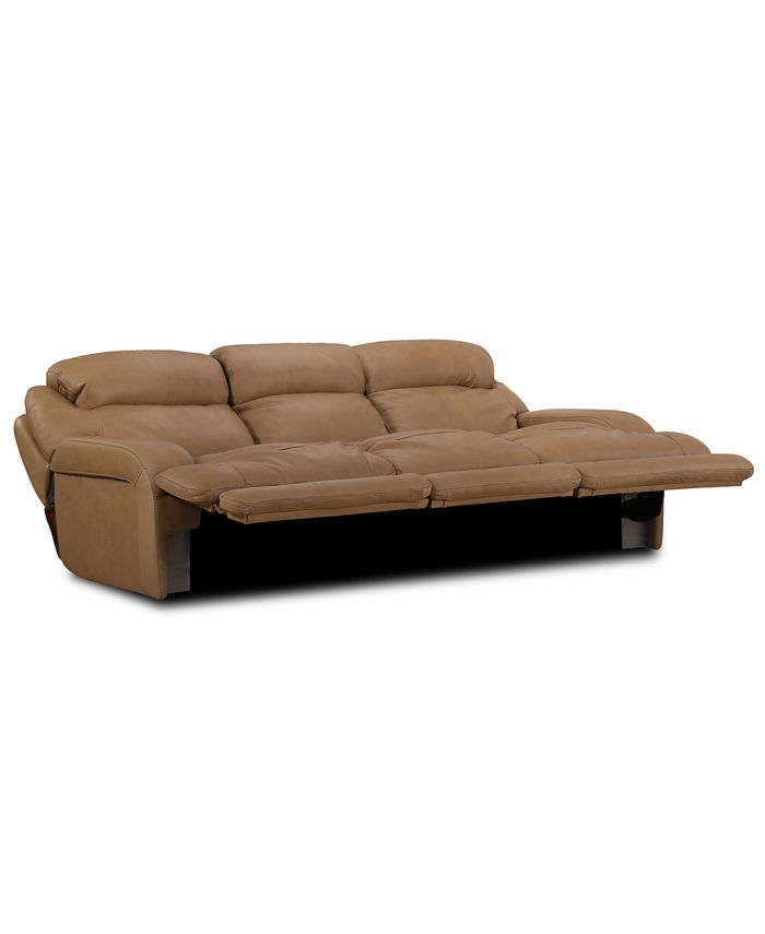 """Furniture - Daventry 116"""" 3-Pc. Leather Sectional Sofa With 3 Power Recliners, Power Headrests And USB Power Outlet"""