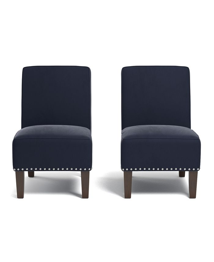 Handy Living - Bryce Armless Chair in Navy Blue Velvet