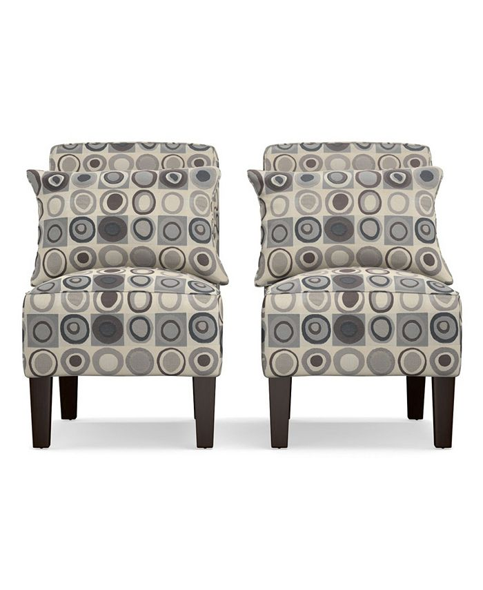 Handy Living - Bryce Armless Accent Chair Set in Gray, Black and Brown Geometric Circles