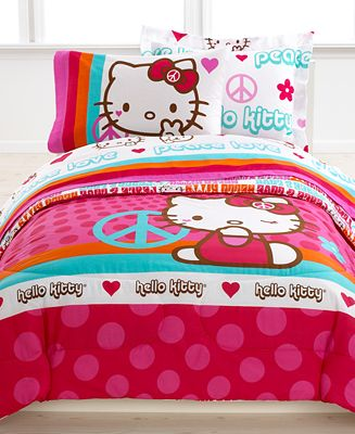 Hello Kitty Bedding, Peace Kitty Reversible Mini Comforter Sets ...