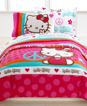 Hello Kitty Bedding, Peace Kitty 3 Piece Twin Sheet Set Bedding